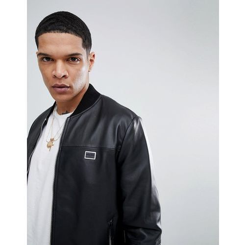Antony Morato Leather Bomber Jacket In Black - Black