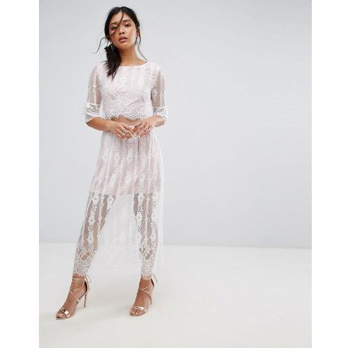 Boohoo Cut Out Waist Lace Maxi Dress - White