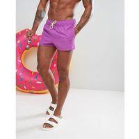 ASOS Swim Shorts In Purple With Neon Yellow Drawcord Super Short Length - Purple