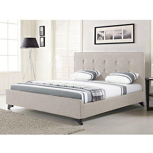 Nowoczesne łóżko tapicerowane ze stelażem 140x200 cm beżowe AMBASSADOR - sprawdź w wybranym sklepie
