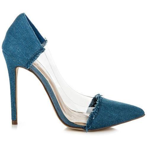 Jeansowe transparentne szpilki - odcienie niebieskiego marki Wilady