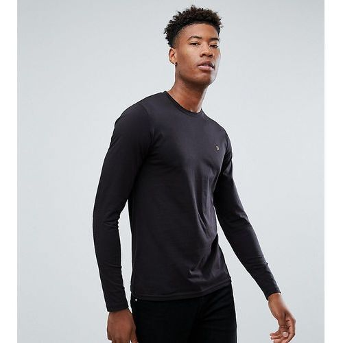 Farah TALL Farris Slim Fit Long Sleeve T-Shirt in Black - Black, kolor czarny