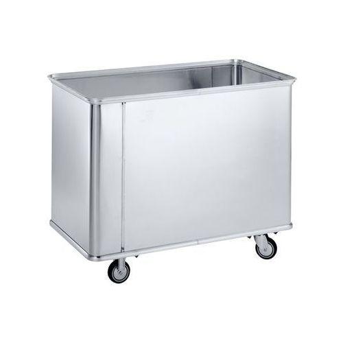 Aluminiowy wózek skrzyniowy, poj. 150 l, bez rowków, z gładkimi ściankami. Odpor