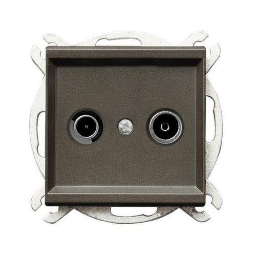 Gniazdo RTV przelotowe czekoladowy metalik GPA-10RP/m/40 SONATA, GPA-10RP/M/40