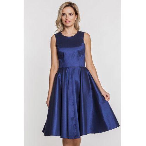 Granatowa sukienka z lśniącej tkaniny - Jelonek, kolor niebieski