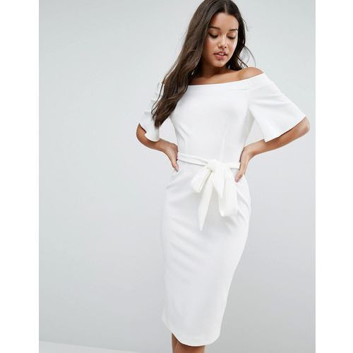 ASOS Midi Dress with Off Shoulder and Self Tie - Cream