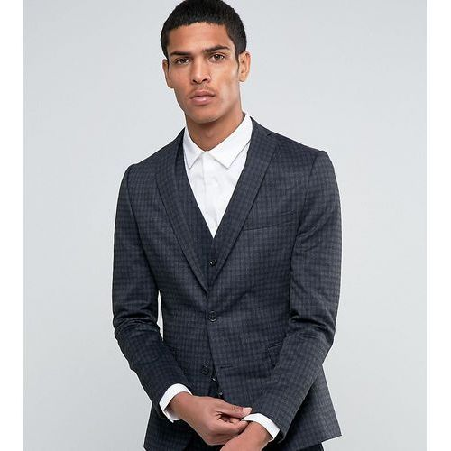 Selected Homme Suit Jacket with Brushed Tonal Check in Skinny Fit - Grey, kolor szary