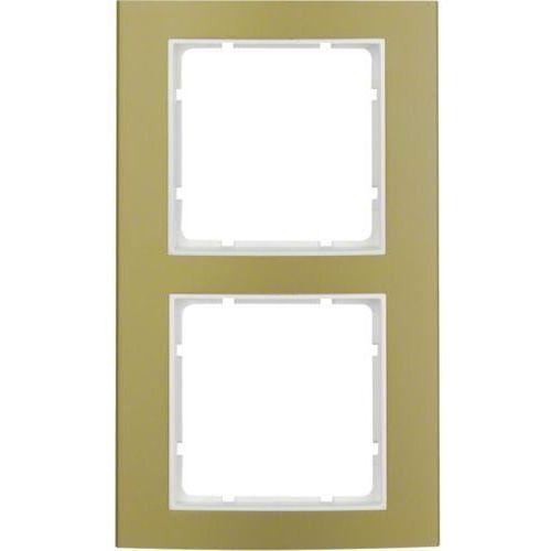 b.3 ramka 2-krotna, alu, złoty/biały 10123046 marki Berker