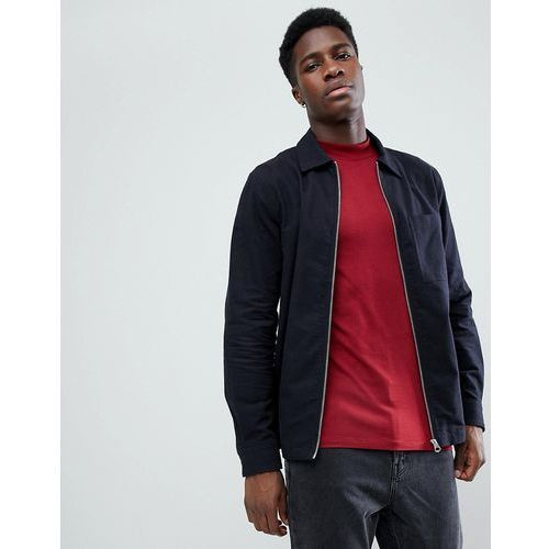Weekday Temp Peached Zip Front Shirt - Navy