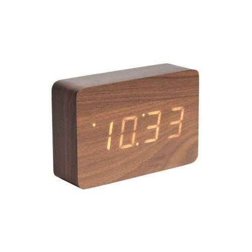 Zegar stołowy, budzik square dark wood, led by marki Karlsson