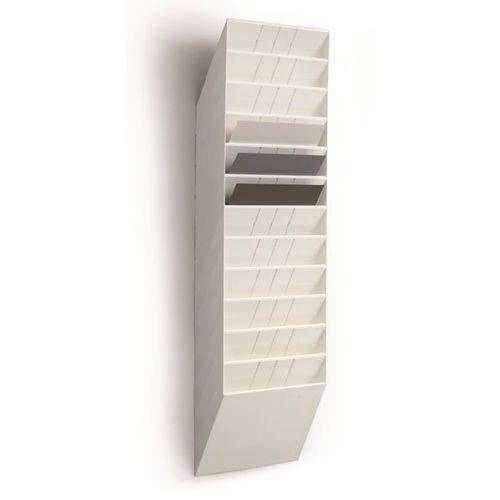 Uchwyt ścienny na prospekty, format poziomy, 12 x DIN A4, opak. 2 szt., biały. N