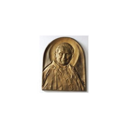 Piękna płaskorzeźba w skórze z świętym papieżem janem pawłem ii - pd-1 marki Art deco