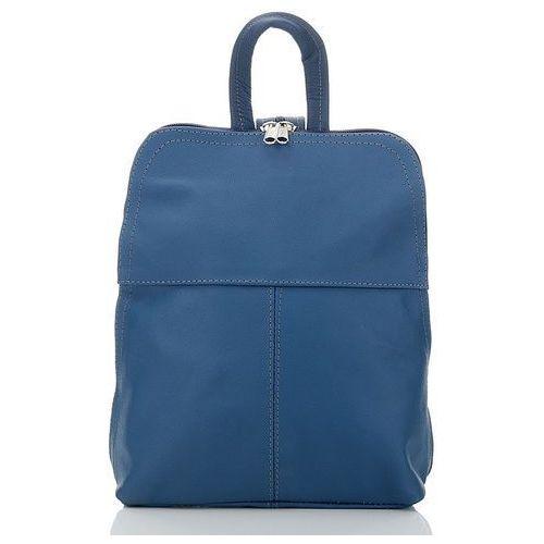 Plecaczek damski skórzany na wycieczkę niebieski - niebieski, kolor niebieski