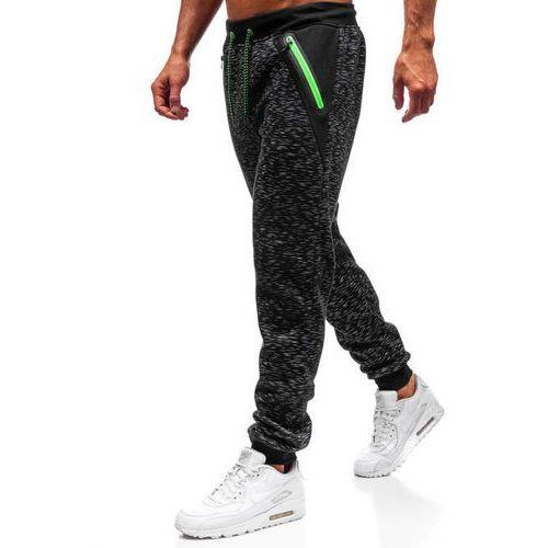 J.style Spodnie dresowe joggery męskie czarne denley 55038