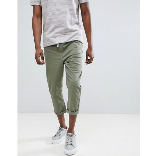 Another influence pull on cropped drawstring chinos - green