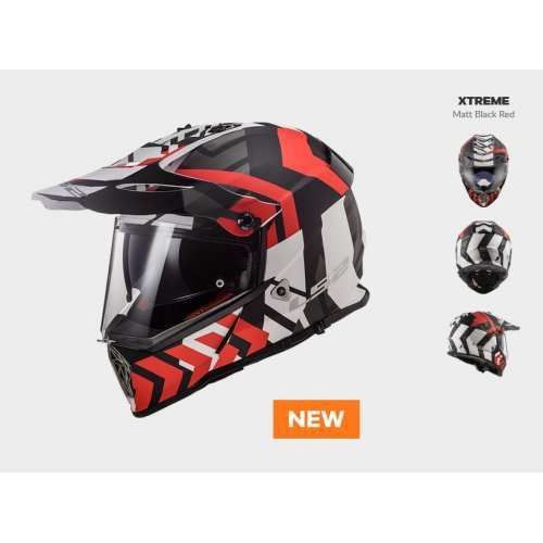 Kask motocyklowy enduro mx436 pioneer xtreme matt black red marki Ls2