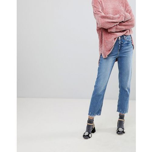 River Island Straight Leg Distressed Hem Jeans - Blue