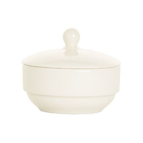 Fine dine Cukiernica z pokrywką porcelanowa crema