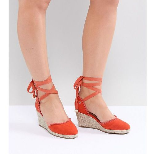 wide fit pom espadrille wedge - orange, Truffle collection