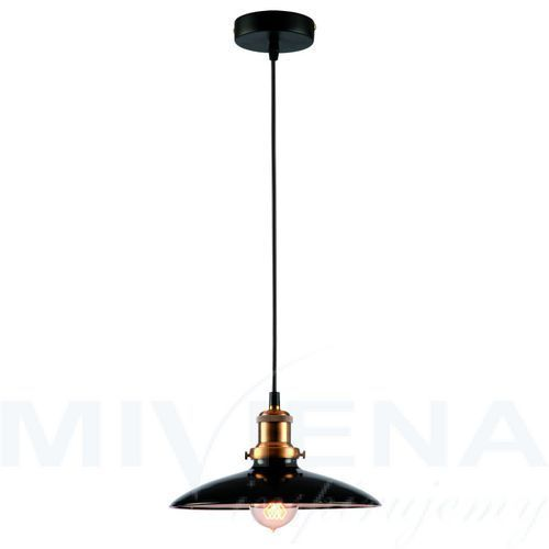 Rustic lampa wisząca 1 metal czarna, kolor czarny,