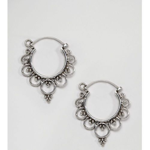 Kingsley Ryan Sterling Silver Mini Ornate Hoop Earrings - Silver, kolor szary