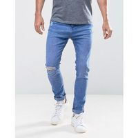 Bershka skinny jeans with rips in mid wash - blue