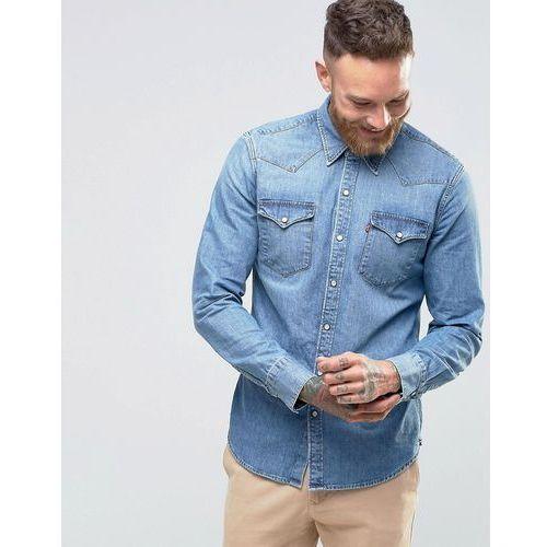 Levi's denim shirt barstow slim fit western redcast stone light wash - blue marki Levis