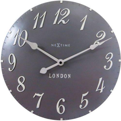 Zegar ścienny London Arabic brązowoszary, kolor niebieski