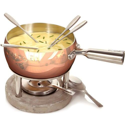 Boska Garnek do fondue 1 litr copper betonowa podstawa (bo-340040)