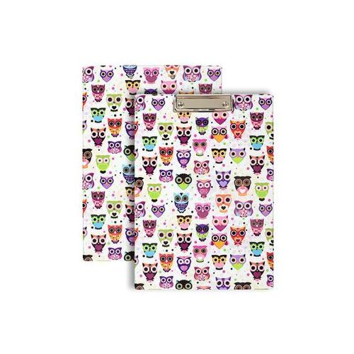 Deska z klipem podkładka PVC do papieru A4 sówki - fioletowe sówki (5907214104584)