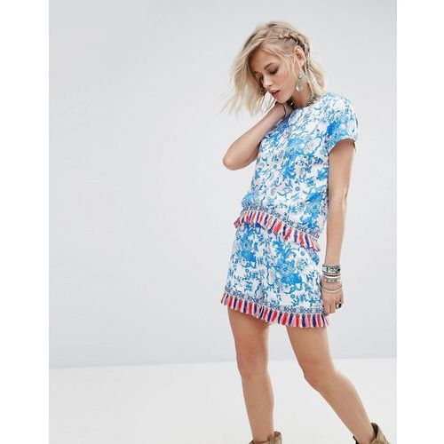 crop t-shirt in floral print with tassel trim co-ord - blue, Glamorous