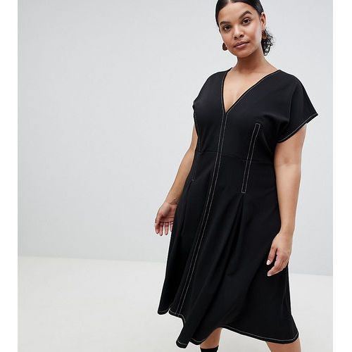 Asos design curve fit and flare midi dress with contrast stitching - black marki Asos curve