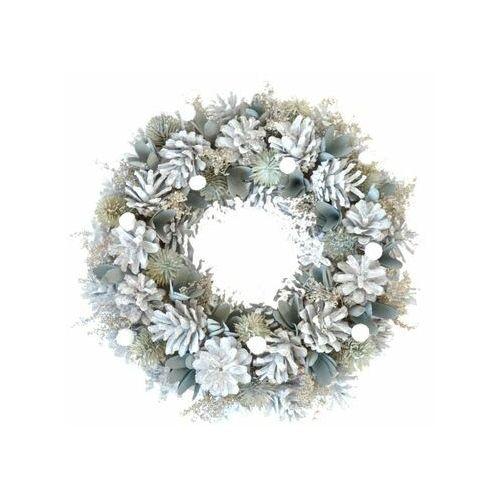 Tajemniczy ogród Wianek świąteczny 30 cm z białymi szyszkami (5903039414136)