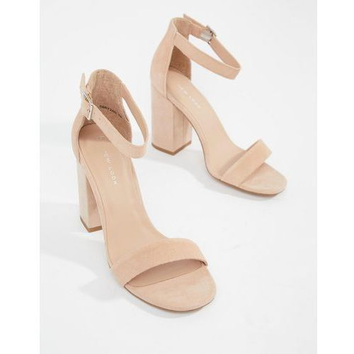 real suede barely there block heeled sandal - beige marki New look