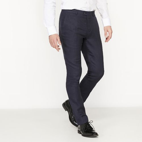 Eleganckie spodnie, krój slim, wykonane z domieszką lnu