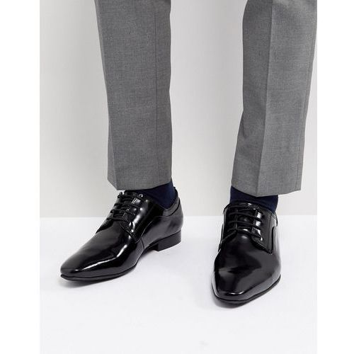 Dune lace up derby shoes in black high shine - black