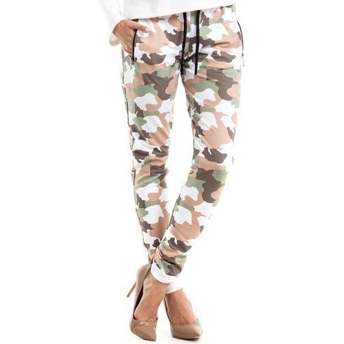 Bawełniane wygodne damskie spodnie moro MOE239_2, kolor biały