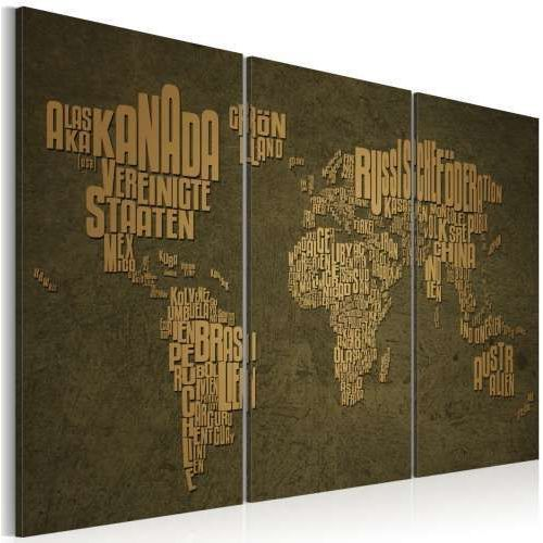 Obraz - mapa świata, język niemiecki: beżowe kontynenty - tryptyk od producenta Artgeist