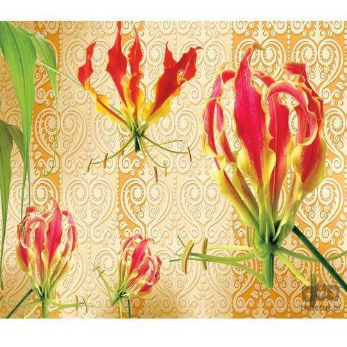 Fototapeta Czerwone lilie na pomarańczowym tle ze złotym wzorem 1386