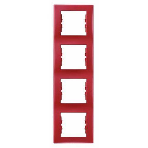 Ramka poczwórna Schneider Sedna SDN5802041 pionowa czerwony, kolor czerwony