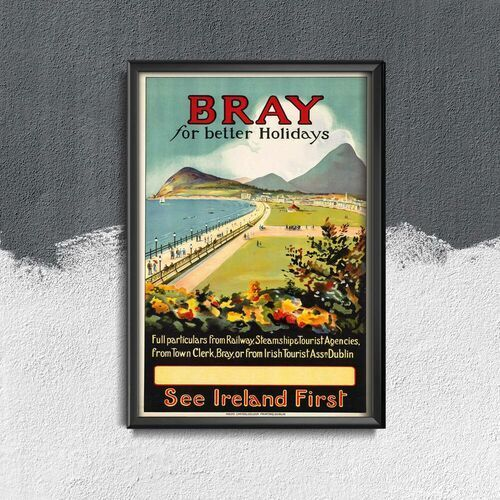 Plakat vintage do salonu Plakat vintage do salonu Irlandia Bray For Better Holidays