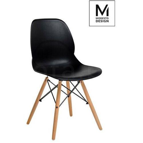 MODESTO krzesło LEAF WOOD czarne - polipropylen, podstawa bukowa, kolor czarny
