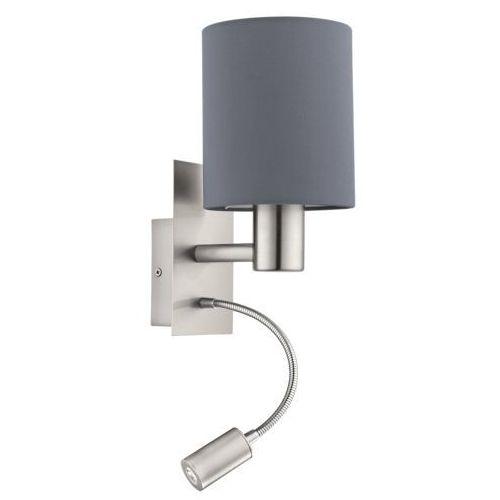 Eglo Kinkiet pasteri 96479 lampa ścienna 1x40w e27 + 1x3,5w led szary/nikiel (9002759964795)
