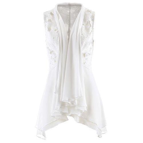 Kamizelka bluzkowa z koronką biel wełny, Bonprix, 36-52