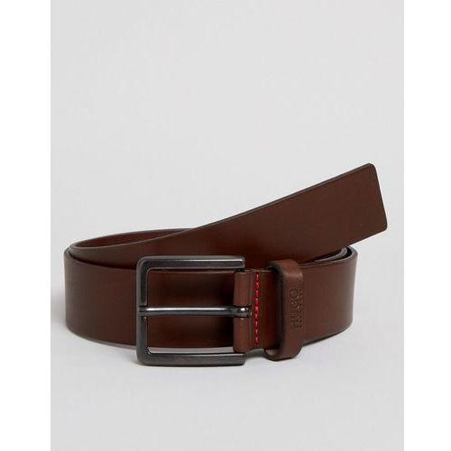 gionio logo keeper leather belt in brown - brown marki Hugo