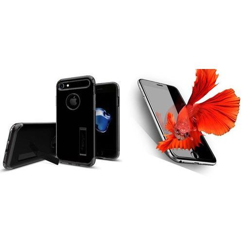 Zestaw | Spigen SGP Slim Armor Jet Black | Obudowa + Szkło ochronne Perfect Glass dla modelu Apple iPhone 7