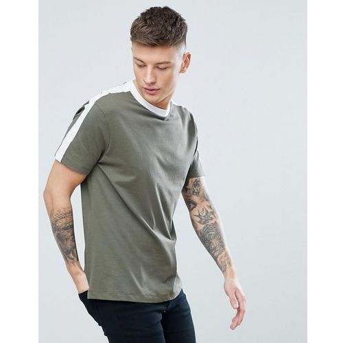 New Look T-Shirt With Arm Stripe In Khaki - Green, 1 rozmiar