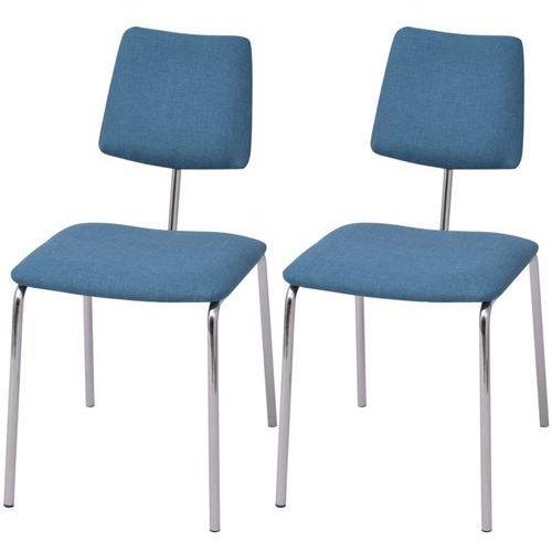 vidaXL Krzesła jadalniane materiałowe, 2 szt. niebieskie (8718475550105)