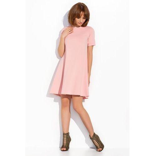 Pudrowa Luźna Trapezowa Sukienka z Krótkim Rękawem, kolor różowy