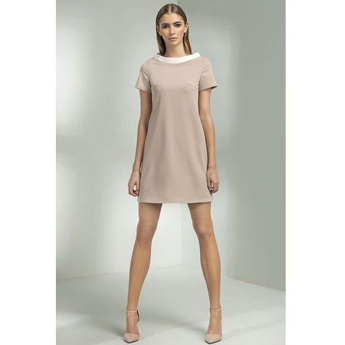 Sukienka trapezowa - beż - s54, Nife